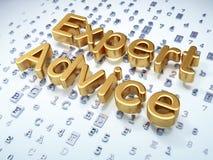 Conceito da lei: Aconselhamento especializado dourado no fundo digital Fotos de Stock Royalty Free