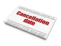 Conceito da lei: data do cancelamento do título de jornal Fotos de Stock