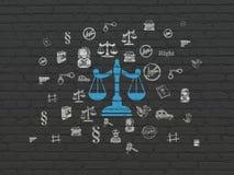 Conceito da lei: Escalas no fundo da parede Fotografia de Stock Royalty Free