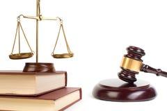 Conceito da LEI Símbolos da lei no fundo brilhante Lugar para o texto imagem de stock