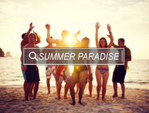 Conceito da liberdade do partido da celebração do paraíso do verão Imagem de Stock