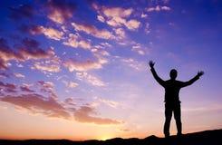 Conceito da liberdade, homem de negócios que está na montanha superior Imagens de Stock