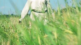 Conceito da liberdade Menina em um vestido que anda no campo de trigo, movimento lento vídeos de arquivo