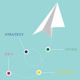 Conceito da liderança com plano branco no céu azul Imagens de Stock Royalty Free