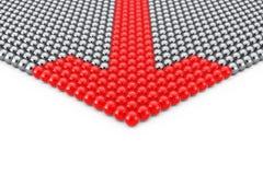Conceito da liderança Fileiras de esferas de Chrome com a esfera vermelha da seta Foto de Stock Royalty Free