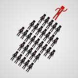 Conceito da liderança - a multidão de trabalhadores segue o leade da equipe Fotos de Stock