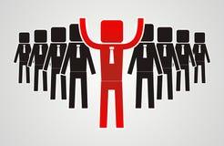 Conceito da liderança - o grupo de trabalhadores deve ser o líder Foto de Stock