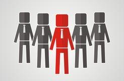 Conceito da liderança - o grupo de trabalhadores deve ser o líder Imagens de Stock Royalty Free