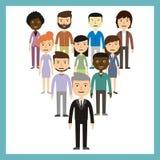 Conceito da liderança - o grupo de trabalhadores deve ser o líder Fotos de Stock