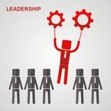 Conceito da liderança - o líder voa às engrenagens Imagem de Stock Royalty Free
