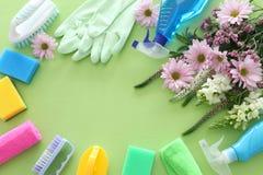 Conceito da limpeza da primavera com fontes sobre o fundo de madeira verde pastel Vista superior, configura??o lisa fotografia de stock