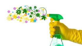 Conceito da limpeza da primavera Detergente floral pulverizado por uma mão com fotos de stock