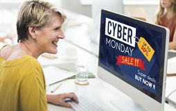 Conceito da liquidação total do disconto da venda de segunda-feira do Cyber Fotografia de Stock Royalty Free
