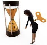 conceito da máquina do tempo da mulher 3d Foto de Stock Royalty Free