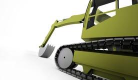 Conceito da máquina escavadora rendido no branco ilustração royalty free