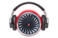 Conceito da música do poder, turbina com fones de ouvido rendição 3d Foto de Stock