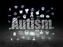 Conceito da medicina: Autismo na sala escura do grunge Fotografia de Stock Royalty Free
