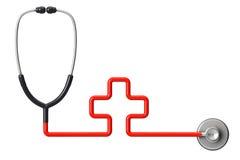 Conceito da medicina. Estetoscópio cruciforme Fotografia de Stock Royalty Free