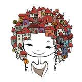 Conceito da menina da cidade para seu projeto Imagens de Stock