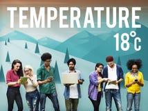 Conceito da meteorologia da notícia da previsão da temperatura da atualização do tempo imagem de stock