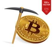 Conceito da mineração de Bitcoin moeda física isométrica do bocado 3D com picareta Imagem de Stock