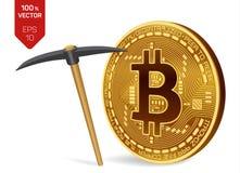 Conceito da mineração de Bitcoin moeda física isométrica do bocado 3D com picareta Moeda de Digitas Cryptocurrency Bitcoin dourad Imagem de Stock Royalty Free