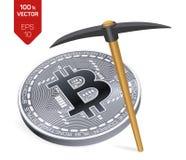 Conceito da mineração de Bitcoin moeda física isométrica do bocado 3D com picareta Moeda de Digitas Cryptocurrency Bitcoin de pra Fotos de Stock Royalty Free