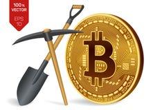 Conceito da mineração de Bitcoin moeda física isométrica do bocado 3D com picareta e pá Moeda de Digitas Cryptocurrency Bitcoin d Fotografia de Stock Royalty Free