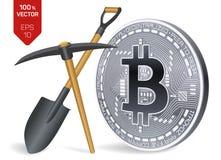 Conceito da mineração de Bitcoin moeda física isométrica do bocado 3D com picareta e pá Moeda de Digitas Cryptocurrency Bitcoin d Imagem de Stock Royalty Free