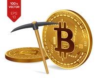 Conceito da mineração de Bitcoin moedas físicas isométricas do bocado 3D com picareta Moeda de Digitas Cryptocurrency Bitcoins do Imagens de Stock