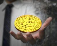 Conceito da mineração de Bitcoin, tecnologia do blockchain, cryptocurrency Imagem de Stock Royalty Free