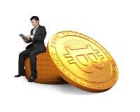 Conceito da mineração de Bitcoin, tecnologia do blockchain, cryptocurrency Fotografia de Stock