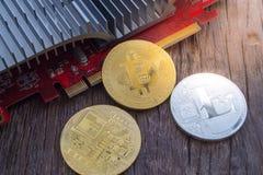 Conceito da mineração de Cryptocurrency com bitcoin Imagem de Stock