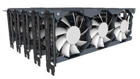 Conceito da mineração de GPU imagens de stock