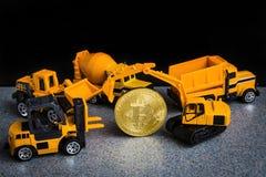 Conceito da mineração do cryptocurrency de Bitcoin Tecnologia de Blockchain MI fotografia de stock