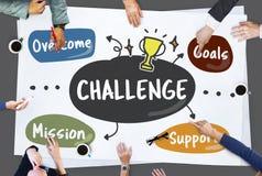 Conceito da missão da melhoria dos objetivos da competição do desafio foto de stock