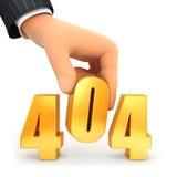 conceito da mão 3d e do erro 404 Fotografia de Stock Royalty Free