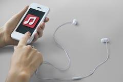 Conceito da mobilidade do entretenimento da lista de músicas da música da música foto de stock royalty free