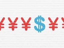 Conceito da moeda: ícone do dólar no fundo da parede Imagens de Stock Royalty Free