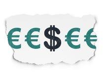 Conceito da moeda: ícone do dólar no papel rasgado Fotografia de Stock Royalty Free