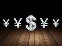 Conceito da moeda: ícone do dólar na sala escura do grunge Imagens de Stock Royalty Free