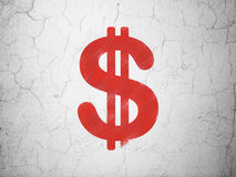 Conceito da moeda: Dólar no fundo da parede Imagens de Stock Royalty Free