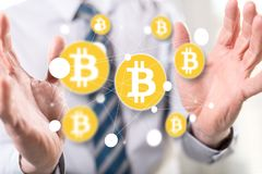 Conceito da moeda do bitcoin fotografia de stock
