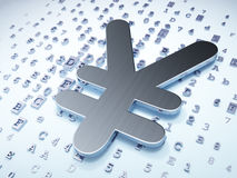 Conceito da moeda: Ienes de prata no fundo digital Imagens de Stock