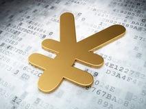 Conceito da moeda: Ienes dourados no fundo digital Imagens de Stock Royalty Free
