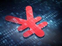 Conceito da moeda: Ienes vermelhos no fundo digital Foto de Stock