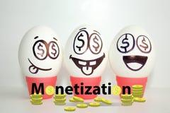 conceito da monetização engraçado imagens de stock