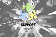 Conceito da motivação da ajuda do auxílio da colaboração do apoio imagens de stock