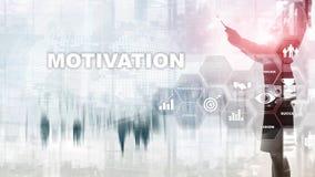 Conceito da motivação com elementos do negócio Equipe do negócio r Meios mistos foto de stock