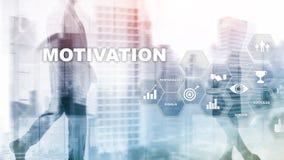 Conceito da motivação com elementos do negócio Equipe do negócio r Meios mistos foto de stock royalty free